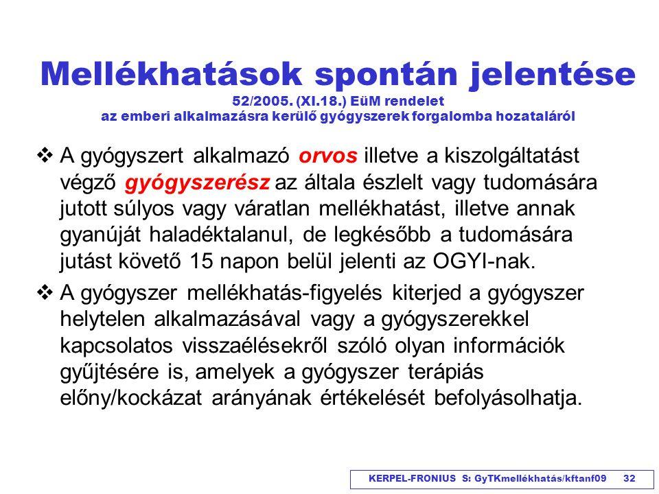 Mellékhatások spontán jelentése 52/2005. (XI. 18