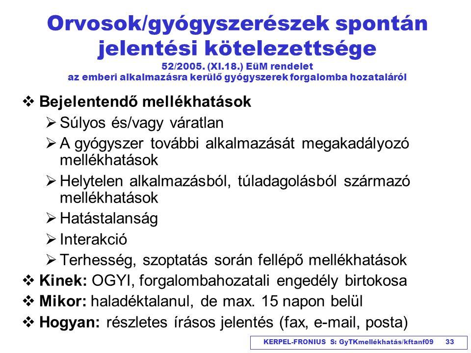 Orvosok/gyógyszerészek spontán jelentési kötelezettsége 52/2005. (XI