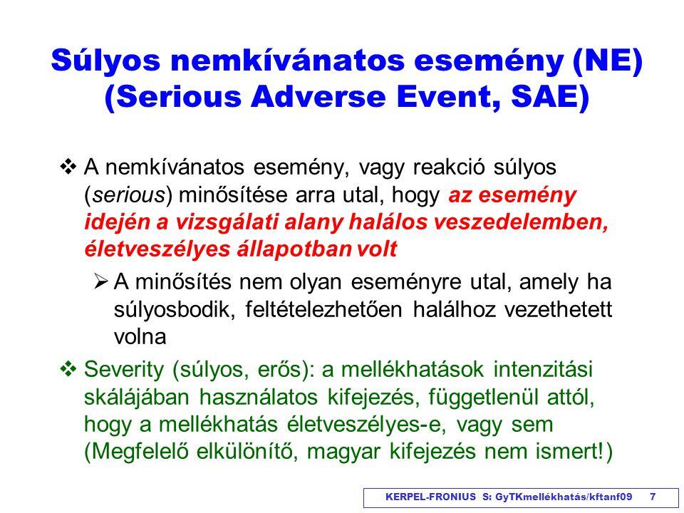 Súlyos nemkívánatos esemény (NE) (Serious Adverse Event, SAE)