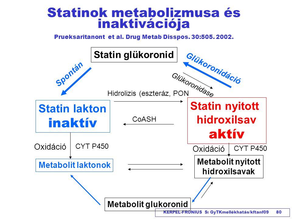 Statinok metabolizmusa és inaktivációja Prueksaritanont et al