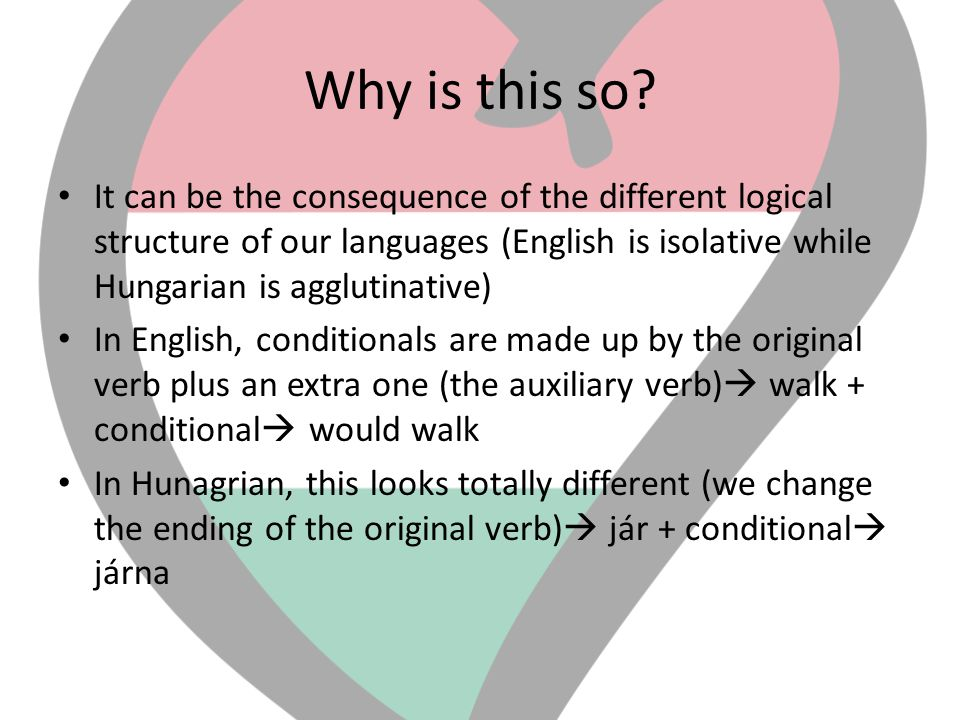 Why is this so It can be the consequence of the different logical structure of our languages (English is isolative while Hungarian is agglutinative)