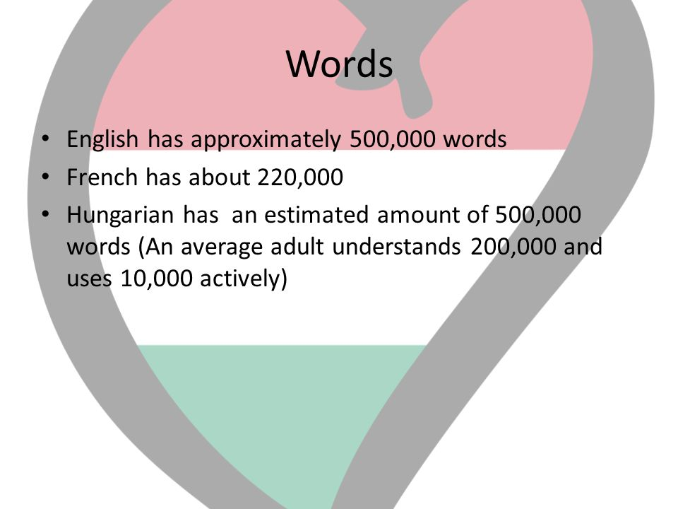 Words English has approximately 500,000 words French has about 220,000