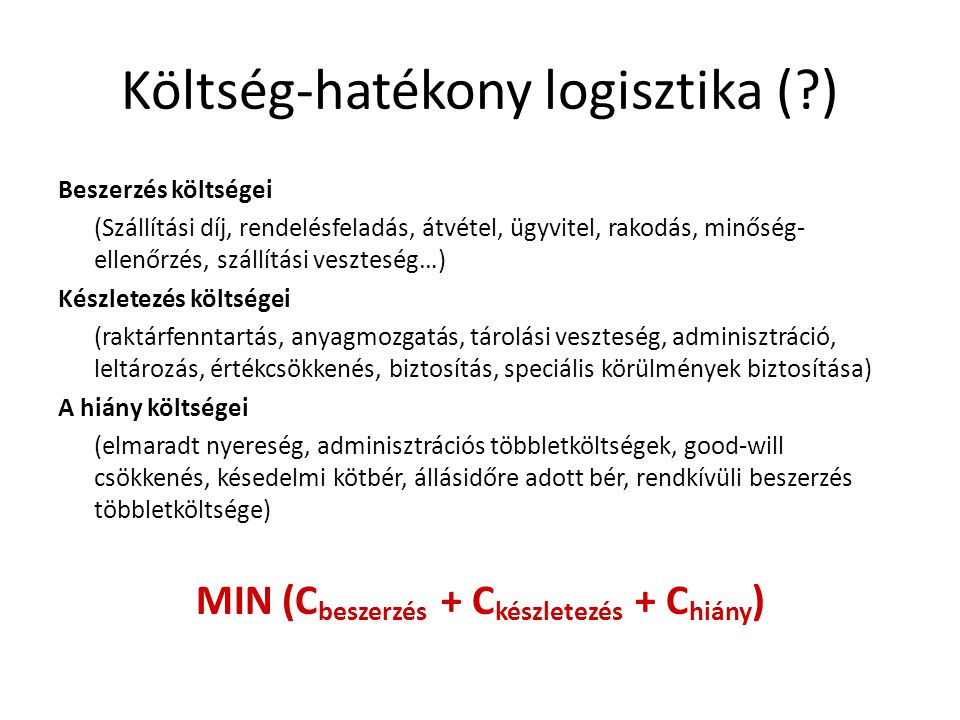 Költség-hatékony logisztika ( )