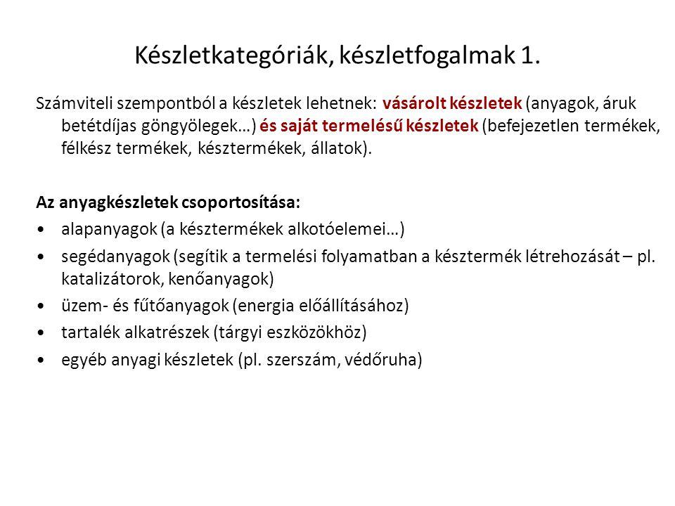 Készletkategóriák, készletfogalmak 1.