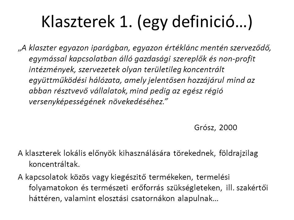 Klaszterek 1. (egy definició…)
