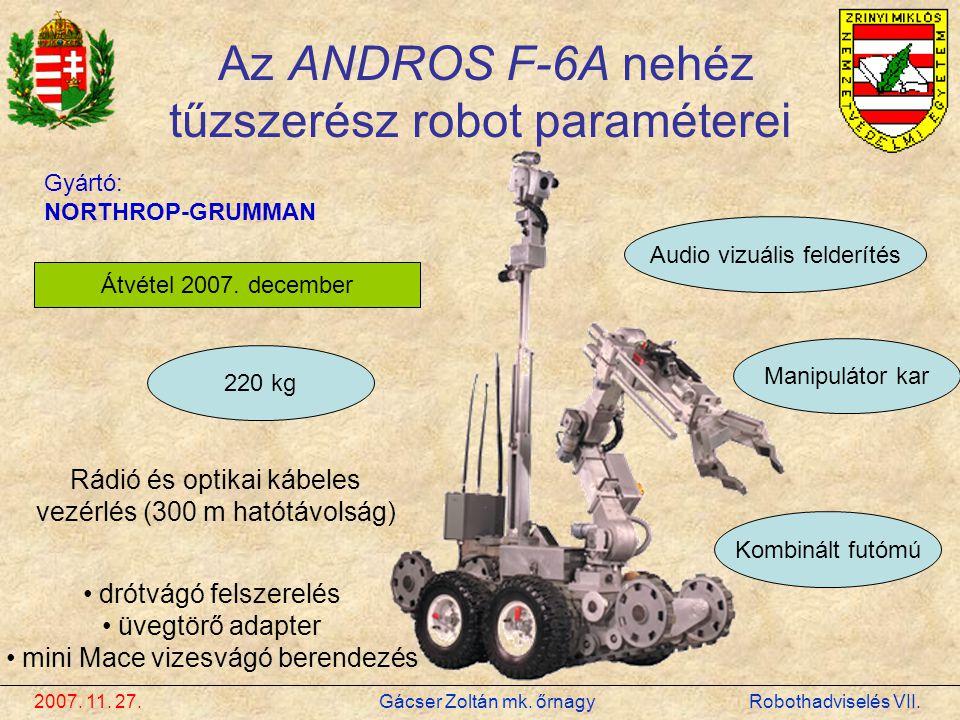 Az ANDROS F-6A nehéz tűzszerész robot paraméterei
