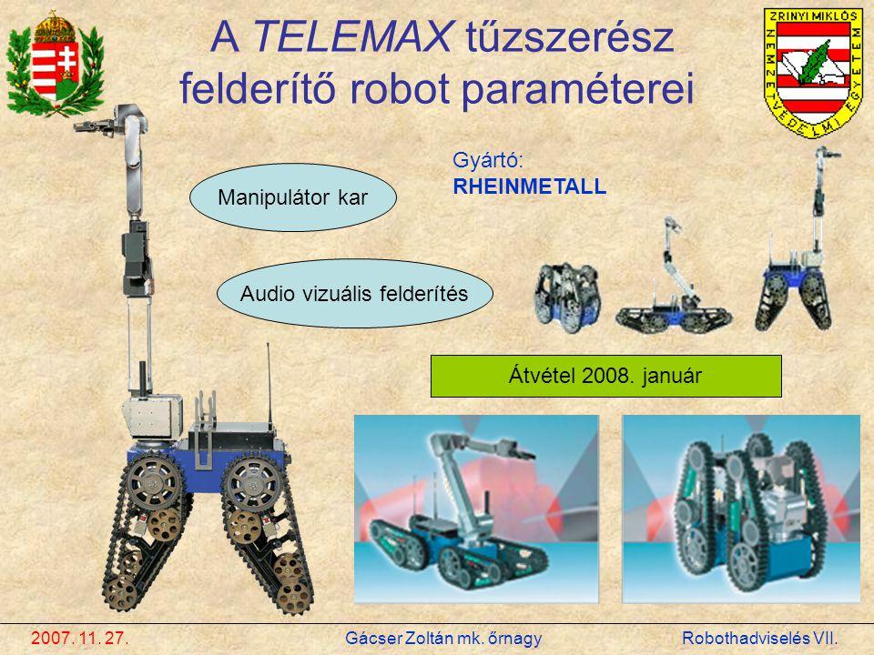 A TELEMAX tűzszerész felderítő robot paraméterei