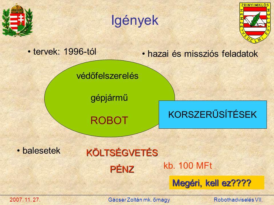 Igények ROBOT tervek: 1996-tól hazai és missziós feladatok