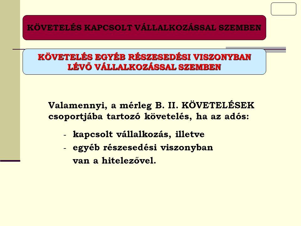 KÖVETELÉS KAPCSOLT VÁLLALKOZÁSSAL SZEMBEN