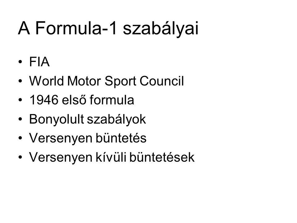 A Formula-1 szabályai FIA World Motor Sport Council 1946 első formula