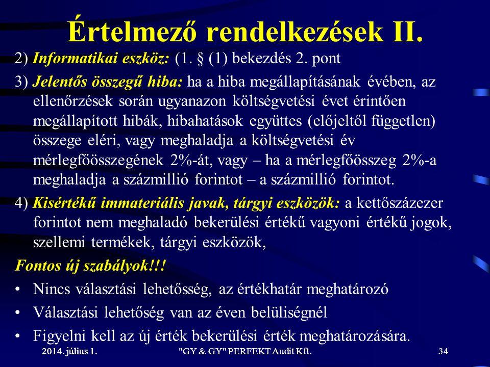 Értelmező rendelkezések II.