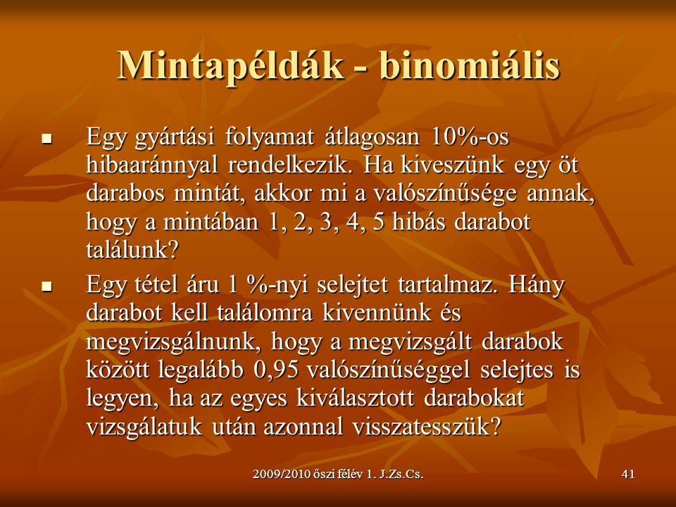 Mintapéldák - binomiális