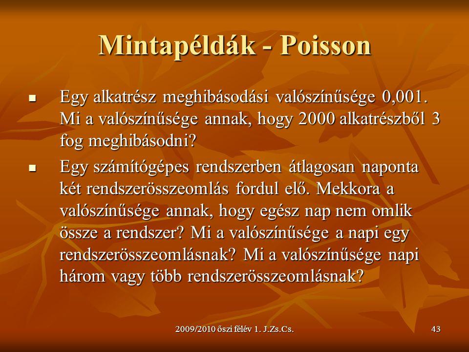 Mintapéldák - Poisson Egy alkatrész meghibásodási valószínűsége 0,001. Mi a valószínűsége annak, hogy 2000 alkatrészből 3 fog meghibásodni