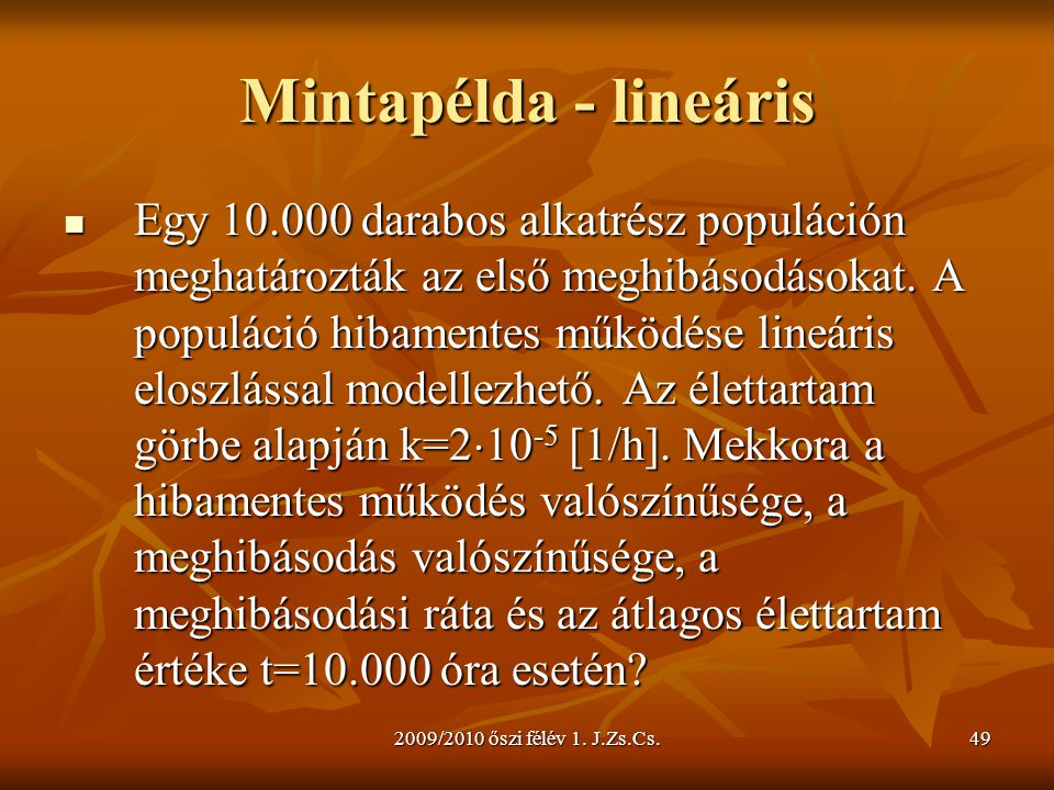 Mintapélda - lineáris