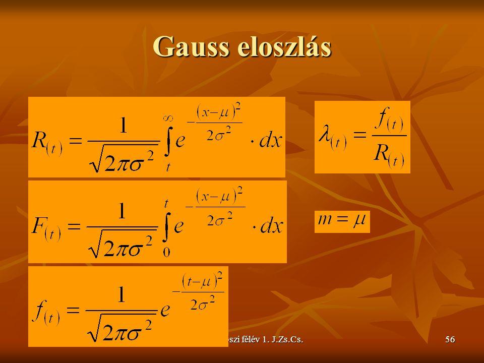 Gauss eloszlás 2009/2010 őszi félév 1. J.Zs.Cs.