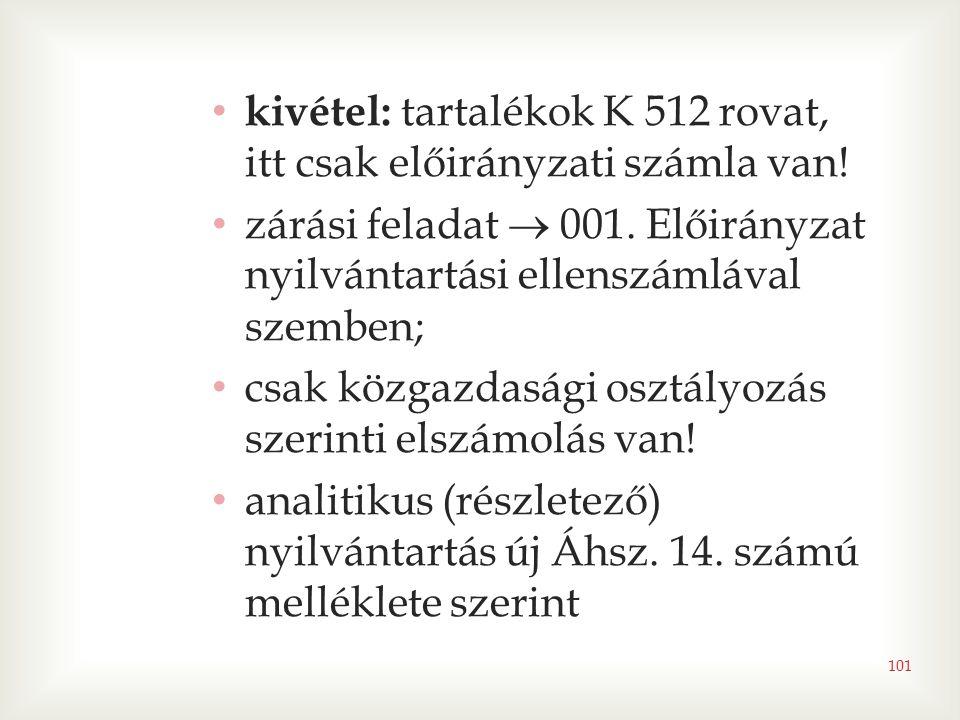 kivétel: tartalékok K 512 rovat, itt csak előirányzati számla van!