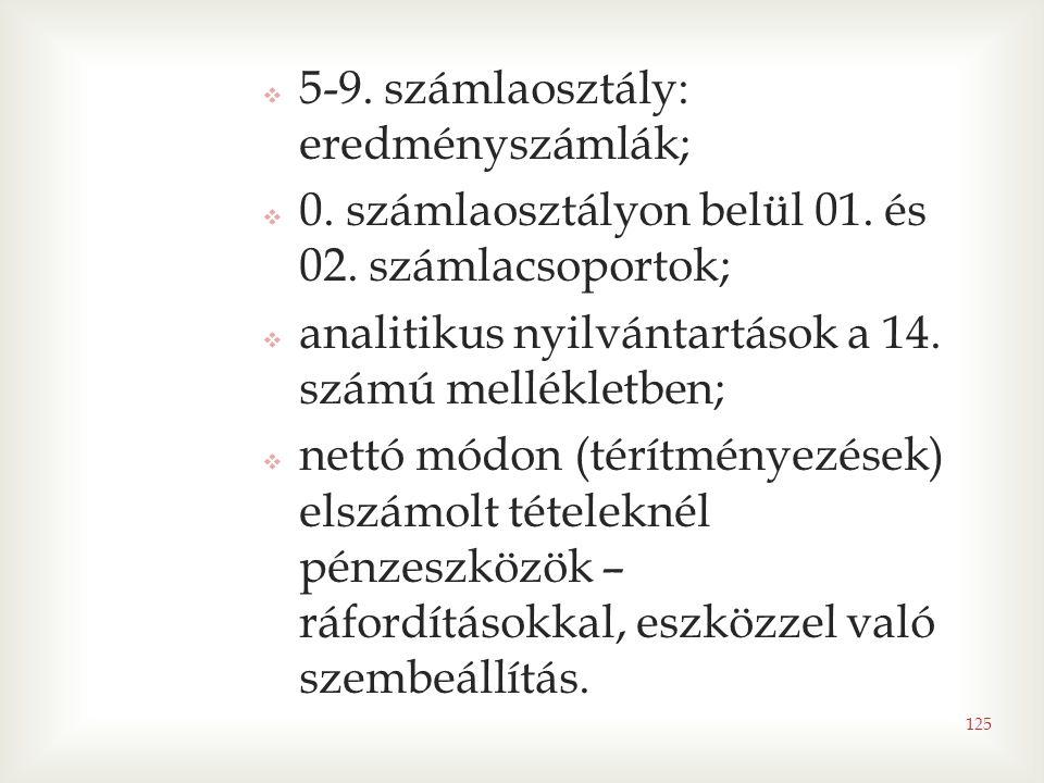 5-9. számlaosztály: eredményszámlák;