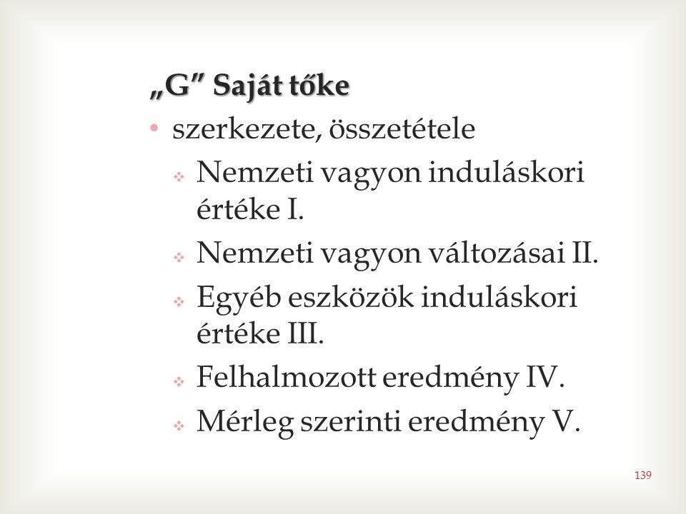 """""""G Saját tőke szerkezete, összetétele. Nemzeti vagyon induláskori értéke I. Nemzeti vagyon változásai II."""