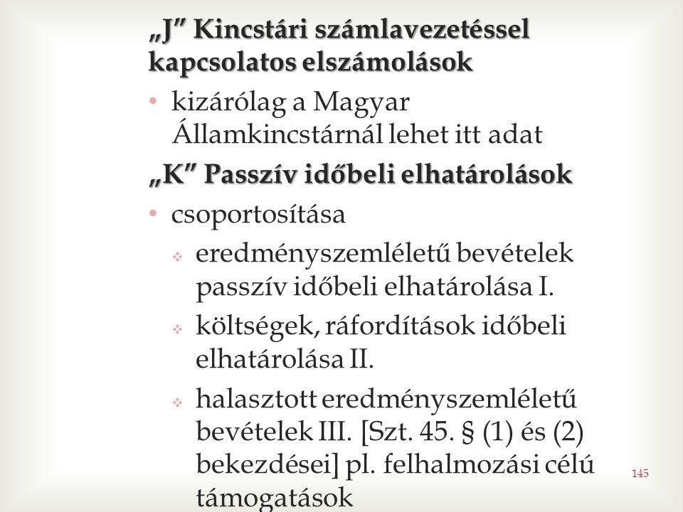"""""""J Kincstári számlavezetéssel kapcsolatos elszámolások"""
