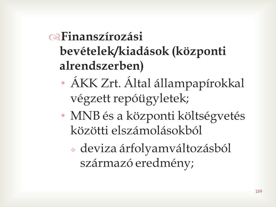 Finanszírozási bevételek/kiadások (központi alrendszerben)