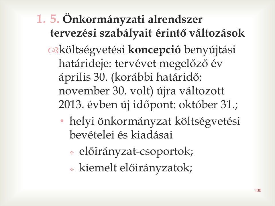 5. Önkormányzati alrendszer tervezési szabályait érintő változások
