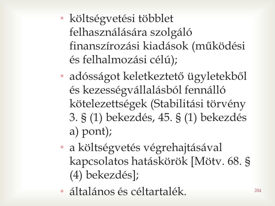 költségvetési többlet felhasználására szolgáló finanszírozási kiadások (működési és felhalmozási célú);