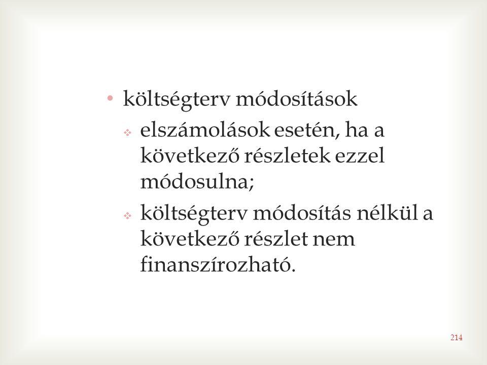 költségterv módosítások