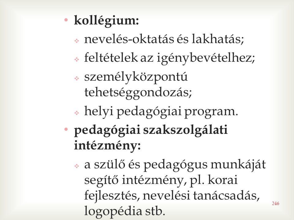 kollégium: nevelés-oktatás és lakhatás; feltételek az igénybevételhez; személyközpontú tehetséggondozás;