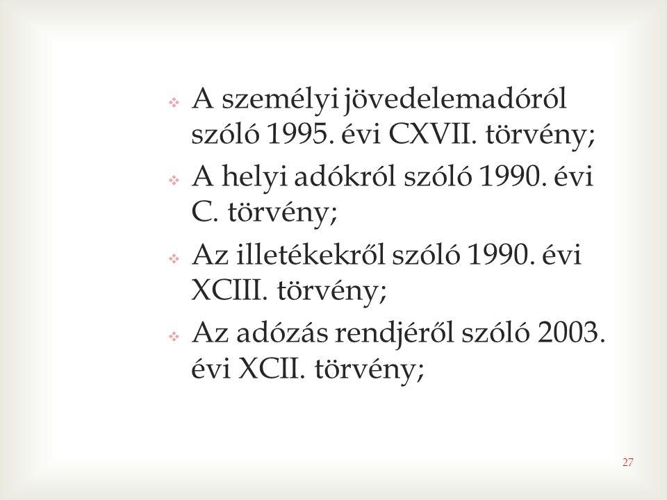 A személyi jövedelemadóról szóló 1995. évi CXVII. törvény;