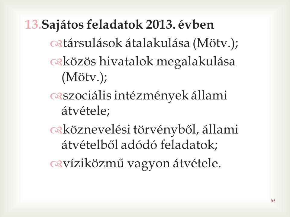 Sajátos feladatok 2013. évben
