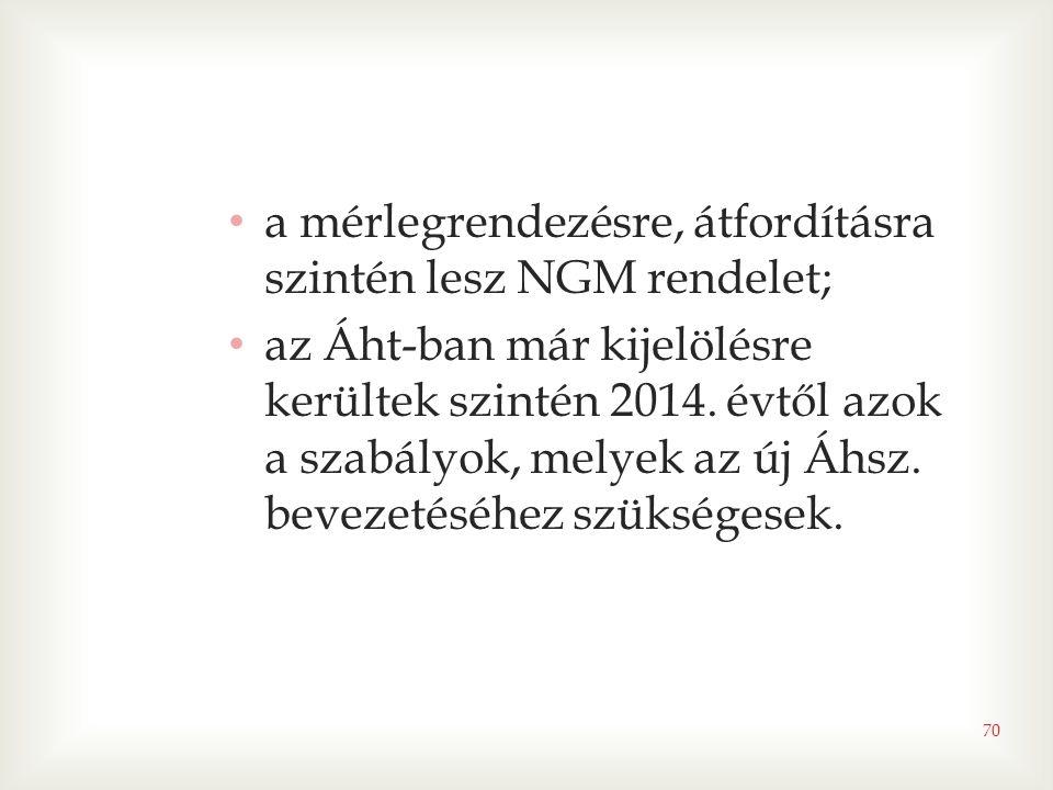a mérlegrendezésre, átfordításra szintén lesz NGM rendelet;