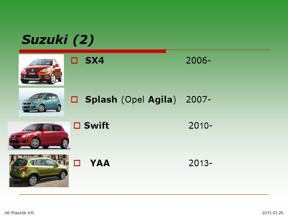 Suzuki (2) SX4 2006- Splash (Opel Agila) 2007- Swift 2010- YAA 2013-