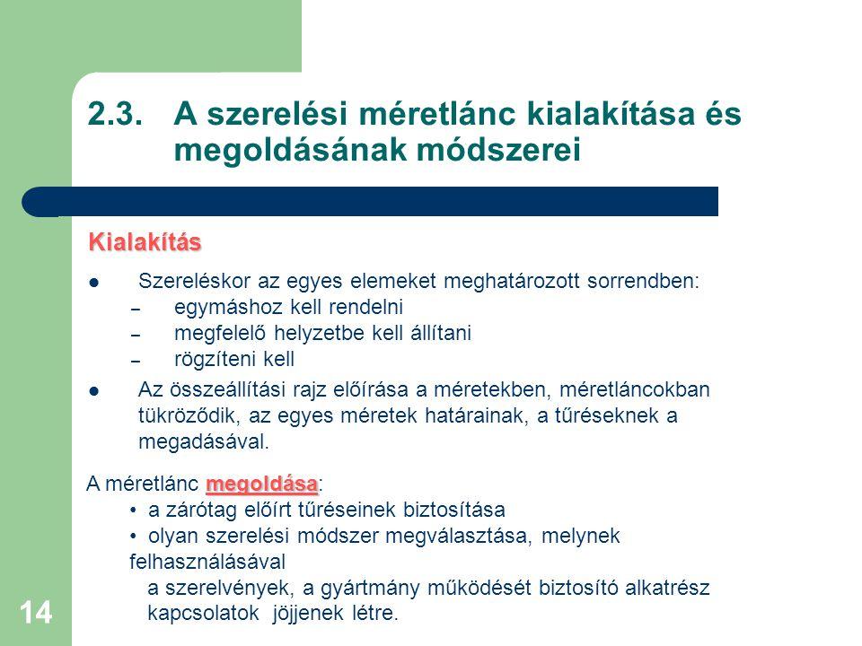 2.3. A szerelési méretlánc kialakítása és megoldásának módszerei