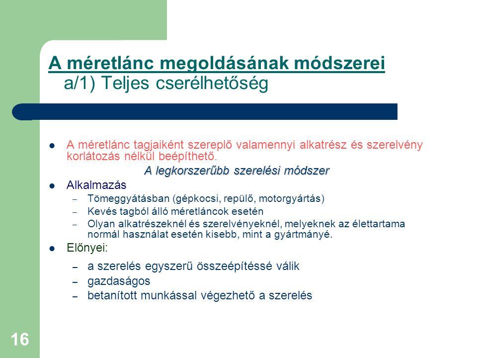A méretlánc megoldásának módszerei a/1) Teljes cserélhetőség
