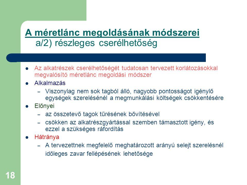 A méretlánc megoldásának módszerei a/2) részleges cserélhetőség