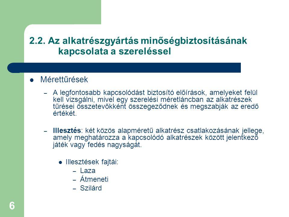 2. 2. Az alkatrészgyártás minőségbiztosításának