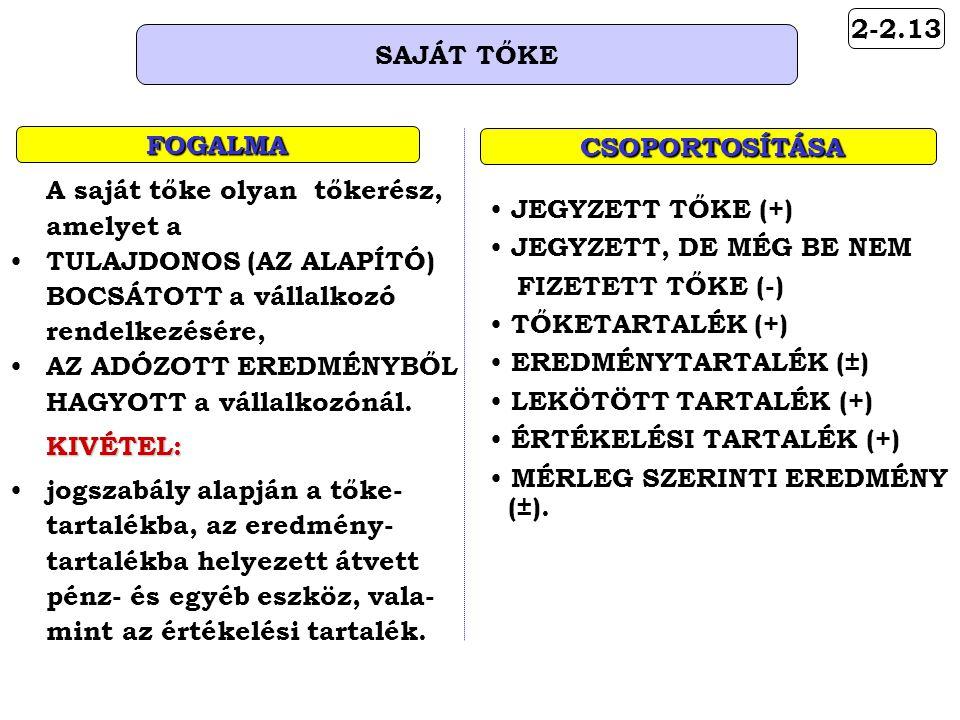 2-2.13 SAJÁT TŐKE FOGALMA CSOPORTOSÍTÁSA