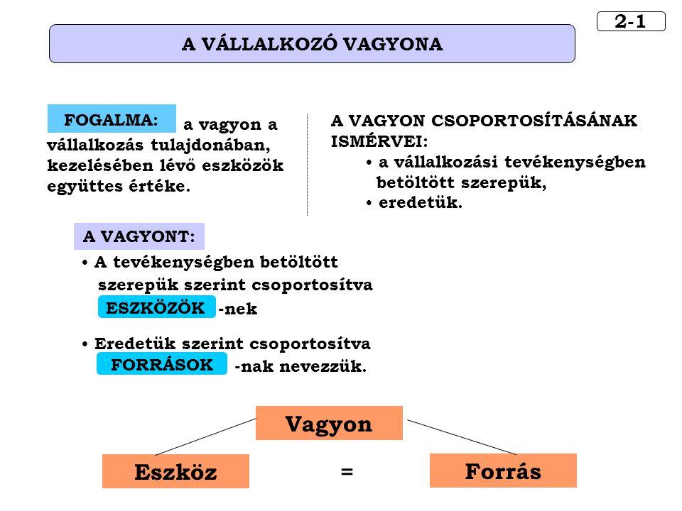 Vagyon Eszköz = Forrás 2-1 A VÁLLALKOZÓ VAGYONA FOGALMA: