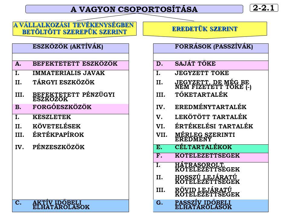 2-2.1 A VAGYON CSOPORTOSÍTÁSA