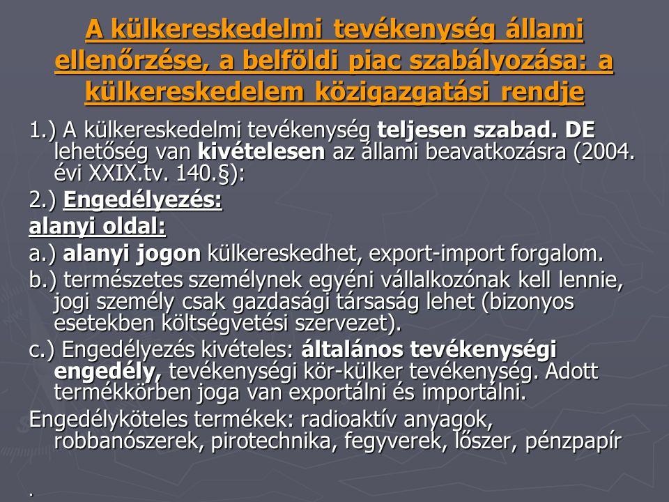 A külkereskedelmi tevékenység állami ellenőrzése, a belföldi piac szabályozása: a külkereskedelem közigazgatási rendje