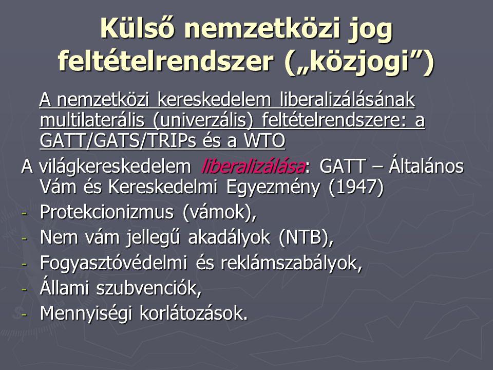 """Külső nemzetközi jog feltételrendszer (""""közjogi )"""