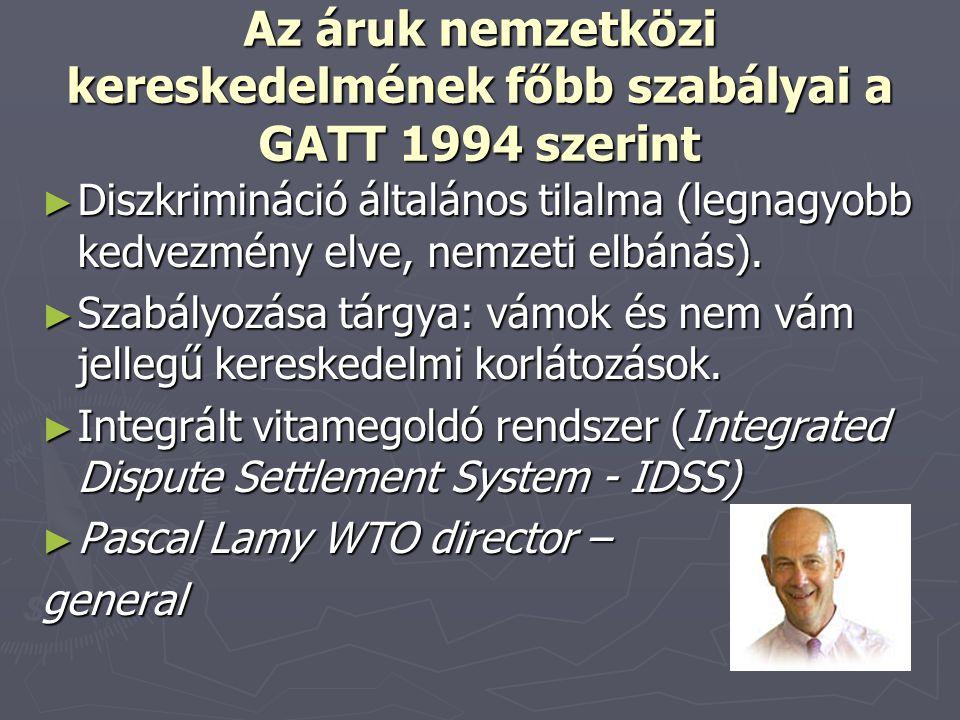 Az áruk nemzetközi kereskedelmének főbb szabályai a GATT 1994 szerint
