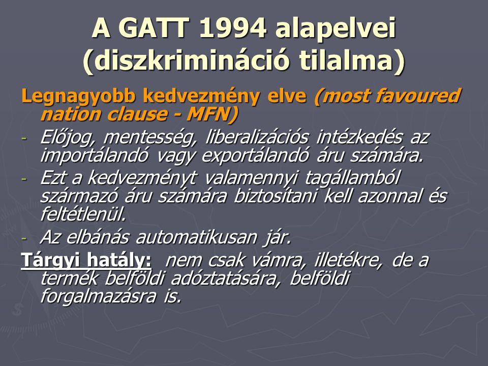 A GATT 1994 alapelvei (diszkrimináció tilalma)