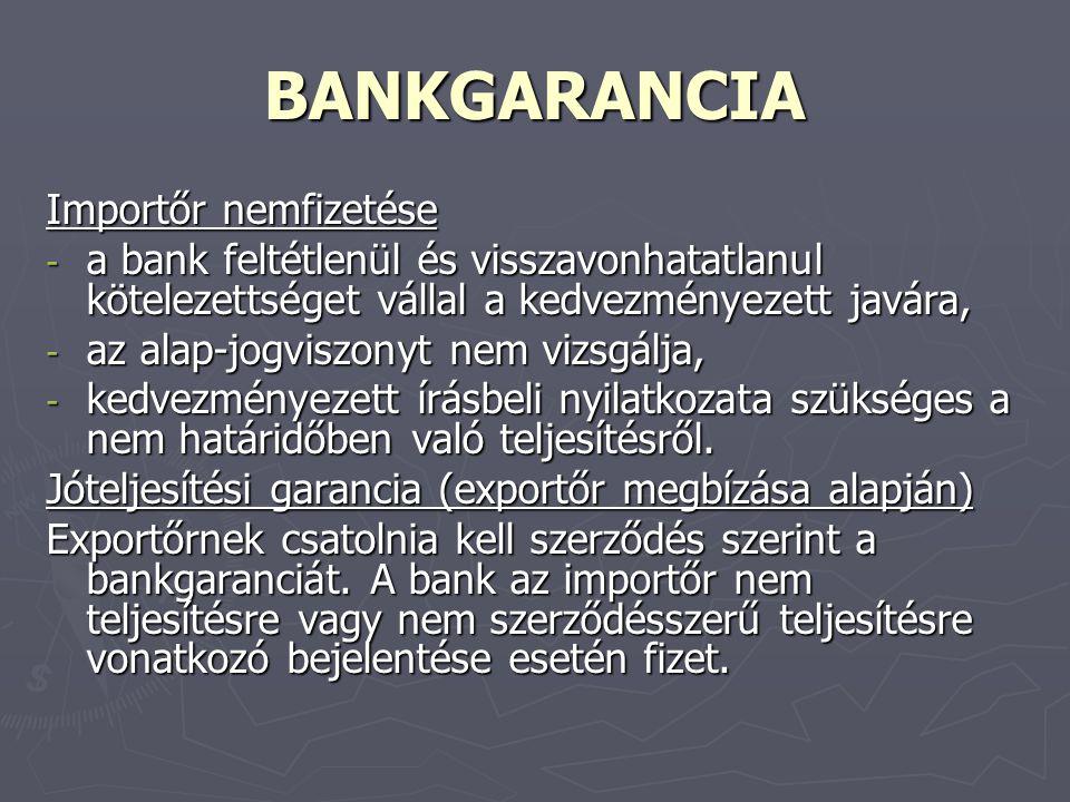 BANKGARANCIA Importőr nemfizetése