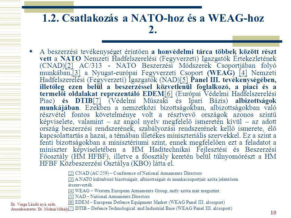 1.2. Csatlakozás a NATO-hoz és a WEAG-hoz 2.