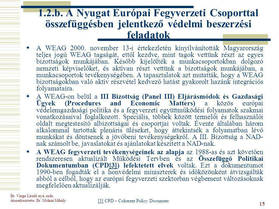 1.2.b. A Nyugat Európai Fegyverzeti Csoporttal összefüggésben jelentkező védelmi beszerzési feladatok