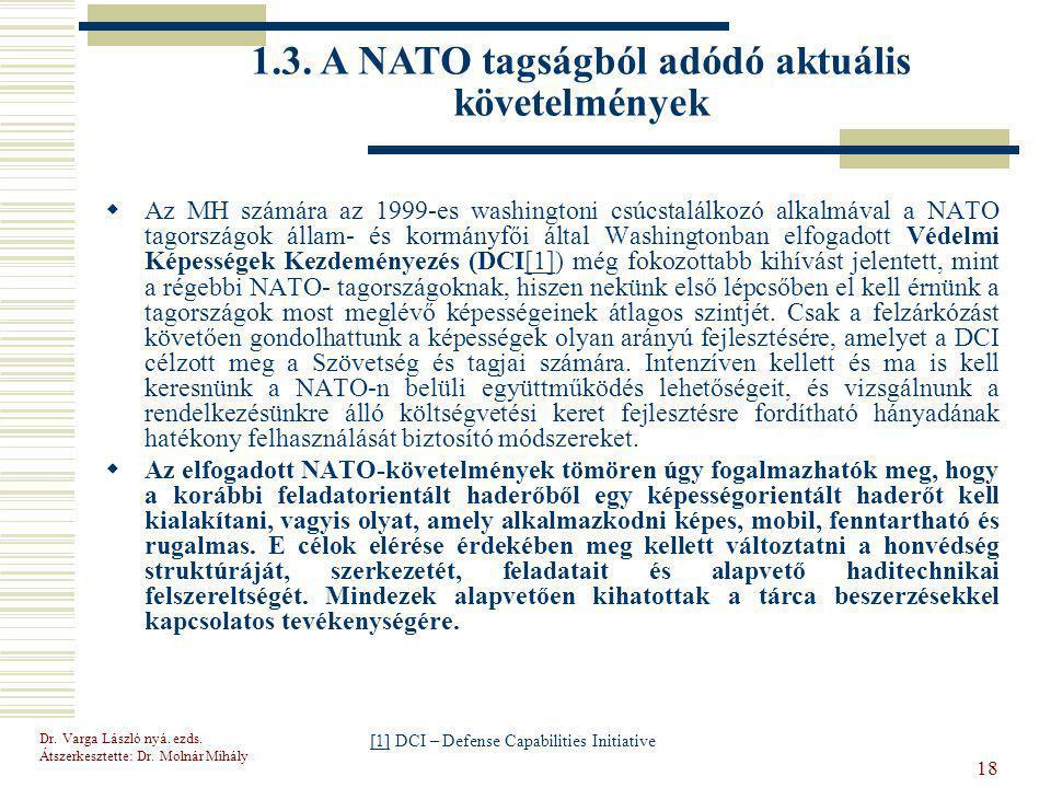1.3. A NATO tagságból adódó aktuális követelmények