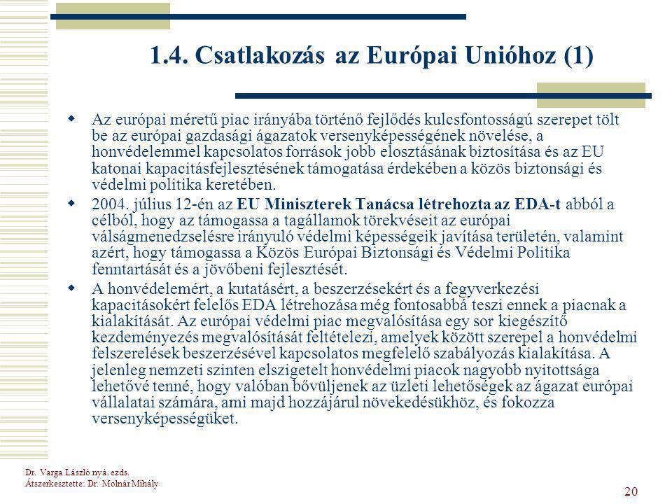 1.4. Csatlakozás az Európai Unióhoz (1)