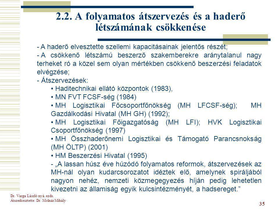 2.2. A folyamatos átszervezés és a haderő létszámának csökkenése