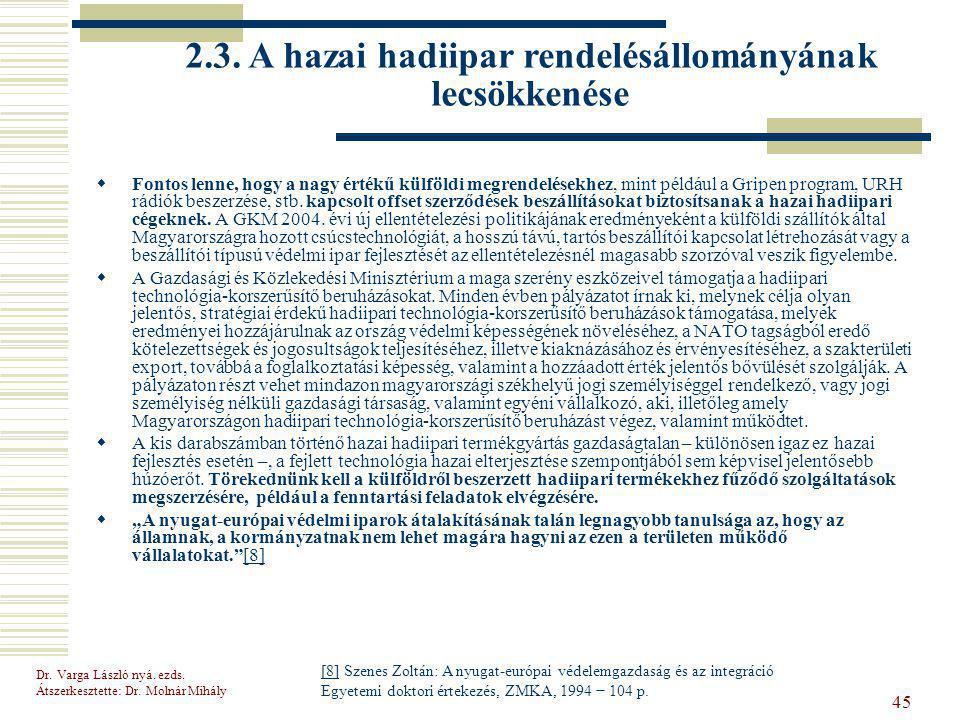 2.3. A hazai hadiipar rendelésállományának lecsökkenése